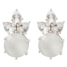 Pretty ear studs in sterling silver with white moonstone and white... ($30) ❤ liked on Polyvore featuring jewelry, earrings, stud earrings, white topaz earrings, moonstone jewelry, moonstone jewellery and studded jewelry