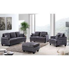 Shop for Ferrara Grey Velvet Nailhead Living Room Set. Get free delivery at…