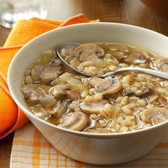 Mushroom Onion Barley Soup Recipe -After tinkering with three different recipes, I came up with this warming rich, dark brown broth with hearty mushrooms, barley and onions. It's a beefy tasting soup for my meat loving husband, completely vegan for me and healthy for both of us. It can simmer all day in a crock pot or be served up right after preparation.