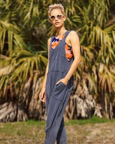 Free People Movement Womens High Tide Jumpsuit V Neck Sleeveless Size M NWT