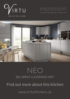 Find out more about this kitchen at http://www.virtukitchens.uk/expression-neo-mist/  #TheArtOfLiving #VirtuKitchens
