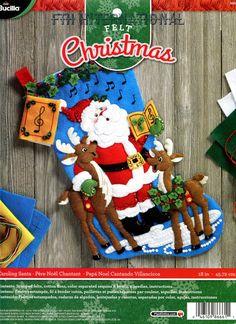 Bucilla Caroling Santa 18 Felt Christmas Stocking Kit