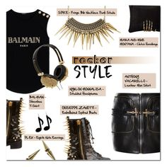 """ROCKER STYLE"" by larissa-takahassi ❤ liked on Polyvore featuring Balmain, Giuseppe Zanotti, Anthony Vaccarello, NY&Lon MonnaLisa, Mara & Mine, gold, spikes, rock and balmain"