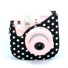 CAIUL Colorful Dots Spot Cloth+PU fuji mini case for Fujifilm Instax Mini 8 Case + Free Shoulder Strap, Black