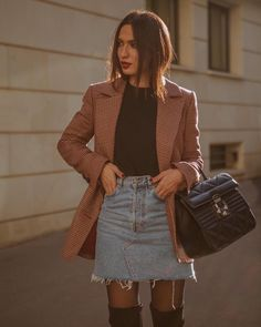 """La Couleur Du Moment on Instagram: """"Outfit idea for the weekend 💡 @idanoparis #coat @andotherstories #denimskirt @furla #furlabag #furlasociety #ootd #outfitoftheday…"""" Cloth Bags, Furla, Denim Skirt, Outfit Of The Day, Womens Fashion, Outfits, Instagram, Style, Color"""