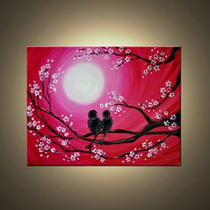 """Love Birds in moonlight silhouette Painting in Magenta, pink and Red. """"Love birds and blooms"""". Free Shipping inside US."""