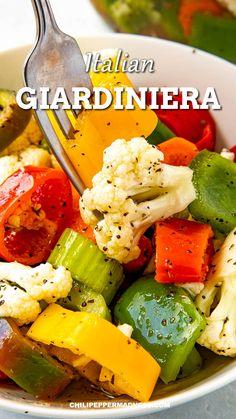 Italian Pickled Vegetables Recipe, Italian Vegetables, Healthy Vegetables, Seasoning For Vegetables, Recipes For Vegetables, Tasty Vegetable Recipes, Pickling Vegetables, Hot Pepper Recipes, Spicy Recipes