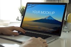 Print-ready mockup showing a man working on a MacBook. Dimensions: 4500 x 3000 px at 300 dpi.