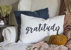 DIY Gratitude Lumbar Pillow
