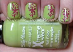 Sally Hansen Xtreme Wear Green With Envy stamped with Sally Hansen Insta-Dri Flashy Fuchsia and Shany Plate SH16