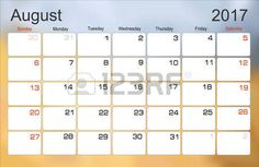 planejamento Vector calendar agosto 2017 planejador mensal. A semana começa no domingo. photo