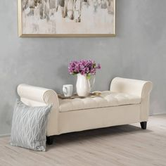 Google Express - Keiko Tufted Velvet Armed Storage Ottoman Bench by Christopher Knight Home (Ivory), Beige Off-White, Size Large