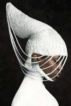 Soft Sculptural Headpiece - knitted hat; couture millinery; armour fashion; wearable art // fashion photography by Arron Dunworth
