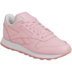 Reebok Women's Classics Leather X Face Low-Top Sneaker ($75) ❤ liked on Polyvore featuring shoes, sneakers, pink, pink shoes, leather shoes, reebok shoes, reebok footwear and leather low top sneakers