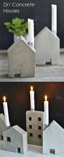 DIY Concrete Houses Match this up with house shape succulent planter Cement Art, Concrete Crafts, Concrete Art, Concrete Projects, Concrete Design, Concrete Building, Papercrete, Concrete Houses, Christmas Centerpieces