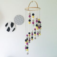 Felt Ball Mobile - Tiered Basket Style - The Pam
