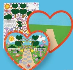 Heart Shaped Love Bug Sticker Scene (2 shts) :   Includes a paper 27cm x 25.4cm background and a sticker sheet. Stickers are repositionable and acid free. (124 stickers per sheet)