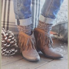 """Fringe booties These fringe booties are the perfect way to add a hint of boho to your outfit. They will look great with your fall tunics and dresses or with skinny jeans.  1 1/4 """" heel. Suede/man made materials. Slip on/ no zipper. Altar'd State Shoes Ankle Boots & Booties"""