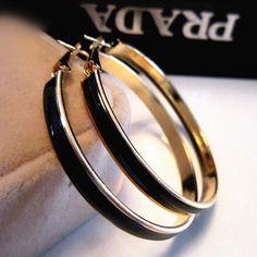 Fashion Multicolor Large Gold Hoop Earrings Jewelry Black and White Enamel 5CM Diameter Big Round Hoop Earrings for Women