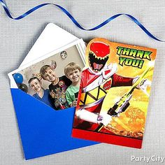 Power Rangers Dino Charge thank you notes, plus a cool party pic make for perfect mementos of the birthday party!