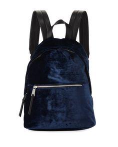 Jace Velvet Zip-Around Backpack, Navy