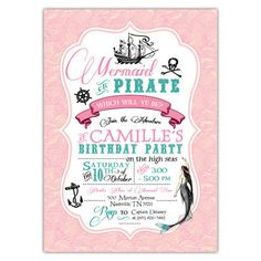 Vintage Mermaid Pirate Party Invitations (pink) – Ian & Lola Design Boutique