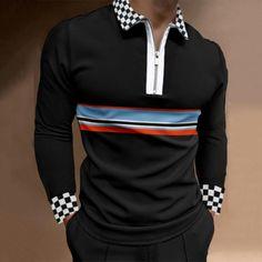 BrosWear Men's Plaid Print Golf Color Matching Casual Long Sleeve Polo Shirt Long Sleeve Mini Dress, Long Sleeve Polo, Long Sleeve Shirts, Check Shirt, Sport T Shirt, Fashion Prints, Men Casual, Business Shirts, Man Shop