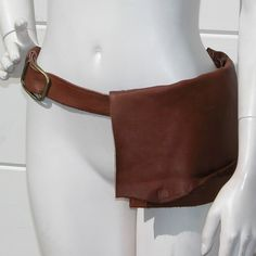 Natural Edge Brown Leather Hip Bag by jackierobbinsdesigns on Etsy
