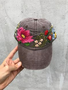 1d1392c0c7d Hand Embroidered Hat   Custom Embroidered Hat   Floral Embroidered Hat    Embroidered Baseball Caps   Brown Cap   Flower Hat   Wildflower