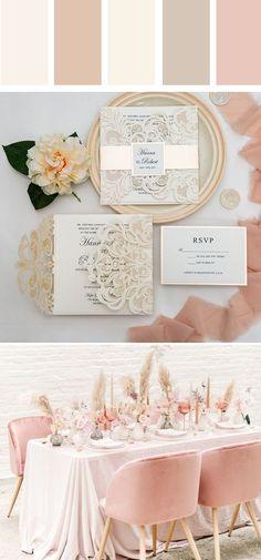 a stylish modern blush and champagne wedding invitation #ewi #elegantwedding