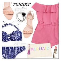 """""""Pink romper"""" by mada-malureanu ❤ liked on Polyvore featuring Tiffany & Co., Kayu, ring, summerstyle, swimsuit, romper and zaful"""