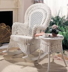 Country Wicker Rocking Chair is styled after Victorian era estate furniture. Love a porch with ferns and white wicker furniture Wicker Shelf, Wicker Tray, Wicker Table, Wicker Chairs, Wicker Furniture, Wicker Dresser, Wicker Baskets, Porch Chairs, Wicker Couch