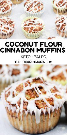 Coconut Flour Desserts, Recipes Using Coconut Flour, Coconut Flour Muffins, Baking With Coconut Flour, Coconut Recipes, Healthy Dessert Recipes, Keto Desserts, Healthy Cinnamon Rolls, Cinnamon Roll Muffins