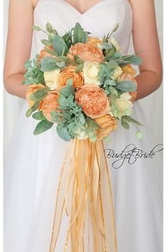 Apricot Wedding flowers peach and ivory, Bridal bouquet made with artificial wedding flowers. Spring Wedding Bouquets, Wedding Bridesmaid Dresses, Bride Bouquets, Flower Bouquet Wedding, Apricot Wedding, Sangria Wedding, Peach Bouquet, Perfect Bride, Bridal Flowers