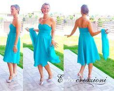 Vestito per cerimonia in chiffon azzurro tiffany 39a17ca1997
