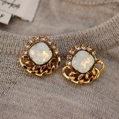 Swarovski and Chain Earrings