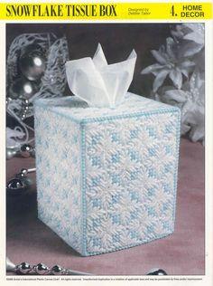 SNOWFLAKE TISSUE BOX plastic canvas pattern NEW by puddinpop Plastic Canvas Stitches, Plastic Canvas Tissue Boxes, Plastic Canvas Crafts, Plastic Canvas Patterns, Tissue Box Holder, Tissue Box Covers, Box Patterns, Pattern Ideas, Free Pattern