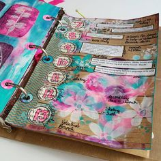 LOVE this by anna friesen--->#unPlanner Feb 7 - 13 weekly view. I stared at the blank page for some time. I was stuck, so like I often do, I started painting circles. Then I spied the #tropicalfloralstencil by @treicdesigns out of the corner of my eye. I grabbed it, started stenciling, and then the ideas flowed. There are many different elements on this 9x12 stencil, making it very useful. Who needs twenty different stencils when you have all you need on ONE?
