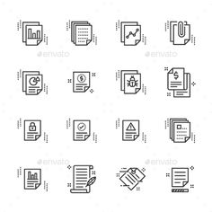 Report Related Simple Vector Line Icons Set. Contains such Icons as Billing, Receipt, Agreement, Cha