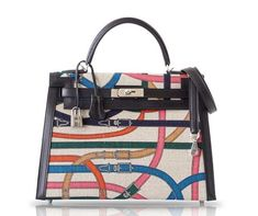 View this item and discover similar for sale at - Guaranteed authentic 32 Kelly Sellier Limited Edition bag in the new Cavalcadour print and black swift leather. Each one of these extremely limited production Hermes Kelly 25, Palladium, Hermes Box, Kelly Bag, Hooded Raincoat, Raincoats For Women, Luxury Bags, Bag Sale, Purses And Bags