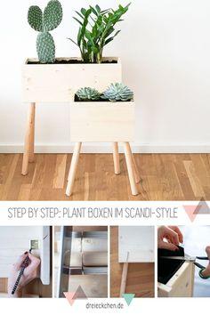 Plant Box skandinavisch aus Fichtenholz Platten und Holzstäben selbst bauen - Pflanzgefäß für eure Zimmerpflanzen Diy Home Decor, Room Decor, Plant Box, Simple Living Room, Diy Interior, Diy Box, Succulents Diy, Plant Design, Flower Boxes