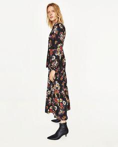 Lange fluwelen jurk zara