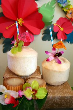 Coconut drinks at a Hawaiian Luau Birthday Party!  See more party ideas at CatchMyParty.com!  #partyideas #hawaiian