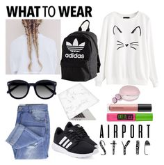 """""""Kitty Cat Comfort"""" by wallflower129 ❤ liked on Polyvore featuring adidas, Taya, Ace, Maybelline, Recover, GabbaGoods, Bare Escentuals and airportstyle"""