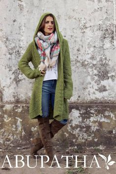 Sacos invierno 2016 ropa de mujer Abupatha. Crochet Jacket, Knit Or Crochet, Moda Crochet, Green Cardigan, Casual Street Style, Knitwear, Winter Fashion, Cute Outfits, My Style