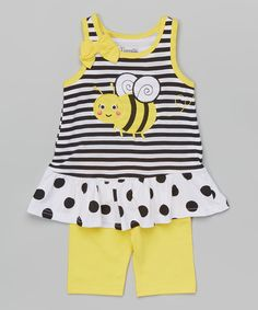 Love this Yellow Bee Tank & Shorts - Infant, Toddler & Girls by Nannette Girl on #zulily! #zulilyfinds