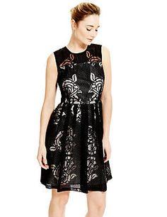 Black Mix Burnout Rose Skater Prom Dress