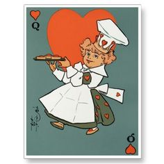 Vintage cards are so lovely, aren't they?  This is a Queen of Hearts postcard.