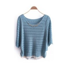 Autumn Women Cute Sweet Scoop Mid Sleeve Sequin-Detailed Knitting Blue... ($16) via Polyvore