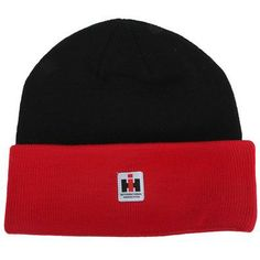 Case IH Black & Red Knit Watch Cap In the cold months of the year, keep yourself warm as you tackle your chores with a watch cap that's got the IH look. The black knit cap has the added detail of a woven IH logo label on the front of the red cuffed brim. This cuffed beanie will keep you warm whether you are finishing up chores, taking in a football game or anything else you enjoy doing. One size fits most. #CaseIH